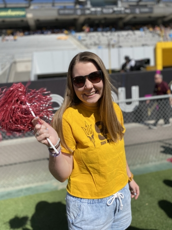 Sarah Moygtych at a football game