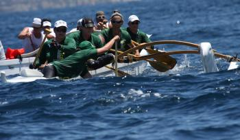 A six person outrigger canoe with ASU crew members