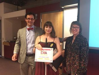 Last year's IDEA Showcase Audience Choice Award winner, Marieke Davis, is flanked by Herberger Institute Dean Steven J. Tepper and Linda Essig, director of the Herberger Institute Enterprise and Entrepreneurship Programs.