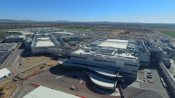 Aerial view of Intel's Fab 42 manufacturing facility in Chandler, Arizona