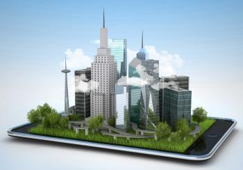 Green city emerging from an iPad