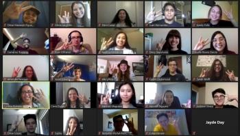screenshot of people meeting on Zoom