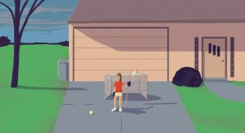 Rendering of girl playing hockey in the driveway of a house.