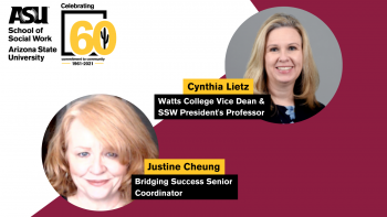 Infographic showing two women from the ASU School of Social Work