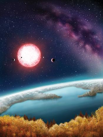 artist's concept depicts Kepler-186f, the first validated Earth-size planet orbiting a distant star in the habitable zone