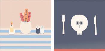 Artist rendering of Thanksgiving table and silverware with skeleton
