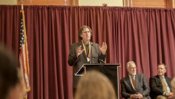 Doug Kenrick speaking at his President's Professor Ceremony