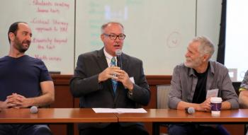 Bill Konigsberg, James Blasingame, and author Chris Crutcher on a panel at the 2018 YA Summit / Photo by Noah Schaffer