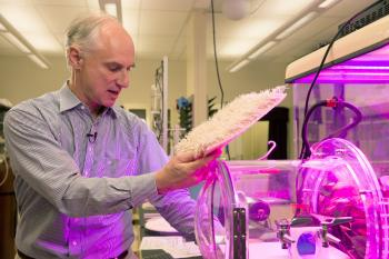 Klaus Lackner in his lab with carbon-absorbing material