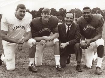 ASU alumnus Larry Hendershot with former Sun Devil football teammates and coach Frank Kush