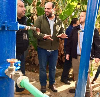 Local utility experts discuss the water quality details with ASU professor Rhett Larson for a well under consideration in Qubbe, Lebanon.