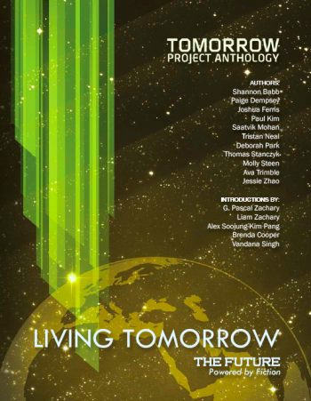 "cover of the ""Living Tomorrow"" anthology"