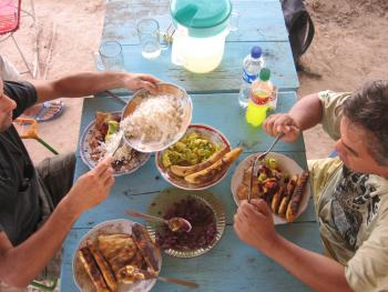 people eating local food in Peru