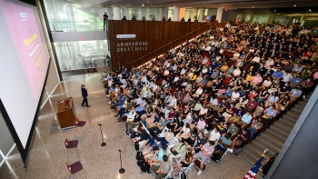 Photo of ASU Law Co-Interim Dean Zachary Kramer speaking to first-year law students at fall 2021 orientation