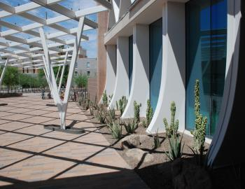 An overhead lattice feature makes shadows on the Manzanita Hall south patio.
