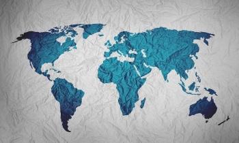 illustration of world map on crinkled paper
