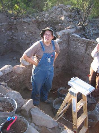 Archaeologist and ASU alumnus Matt Peeples in the field in New Mexico