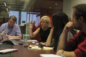 Mauro Whiteman listening in a News21 meeting
