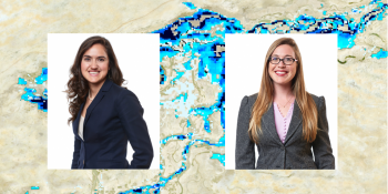Photos of Schwarz and Tellman superimposed over sample of flood map