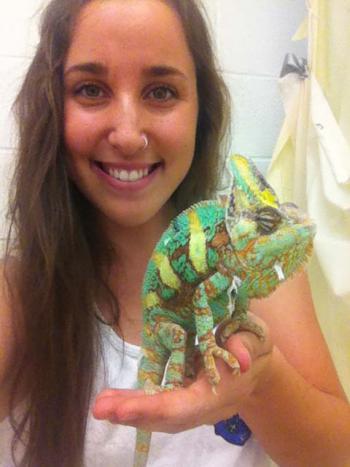 ASU student Megan Best holding a chameleon