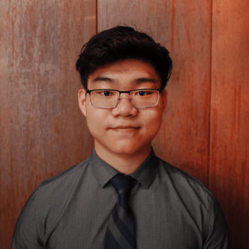 Headshot of the featured graduate, Michael Wang