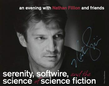"flier for the event: ""An Evening with Nathan Fillion and friends"""