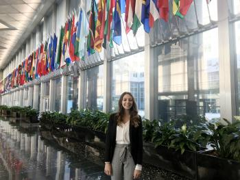 Nikki Hinshaw pictured at her internship with The McCain Institute's Policy Design Studio program in Washington D.C.