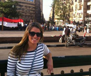 Olivia Friend in front of Tahrir Square
