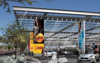 An architect's rendering of a parking lot solar shade structre.