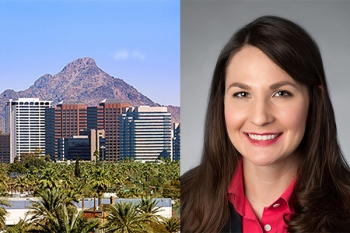Photo of Perkins Coie Phoenix office and Lindsay Jewell