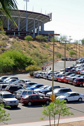 Parked vehicles near ASU's Sun Devil Stadium