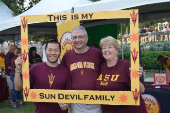 ASU student and parents at Family Weekend