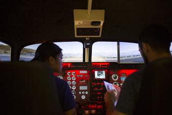 ASU aviation program students using PilotEdge in flight simulation