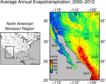 Average annula evapotranspiration from the North American Monsoon Region