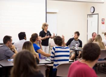 Carolyn Hirata teaches a class of Technological Entrepreneurship and Management students.
