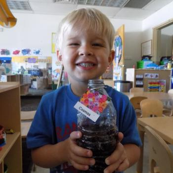 Children at the Mary Lou Fulton Teachers College Preschool learn about sustainability and more .