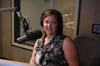 Picture of Professor Rebecca White in the KJZZ Radio Studio