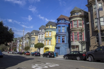Colorful houses on a street in San Francisco