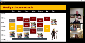 Screenshot of a class schedule during a Zoom meeting