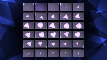 Experimental images of new triangular sapphire membranes created through a scalable manufacturing process.
