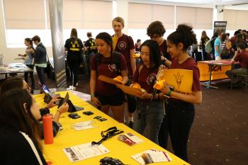 Participants at the Science Olympiad learn about ASU resources