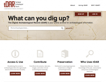 Screen shot of the Digital Archaeological Record Website