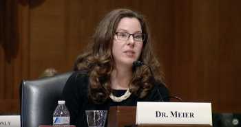 ASU psychologist Madeline Meier speaks before a Senate caucus