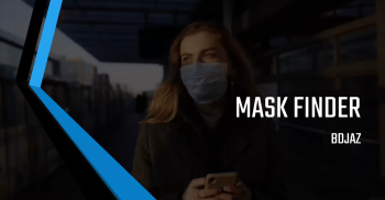 woman in mask with text over image that reads: Mask Finder