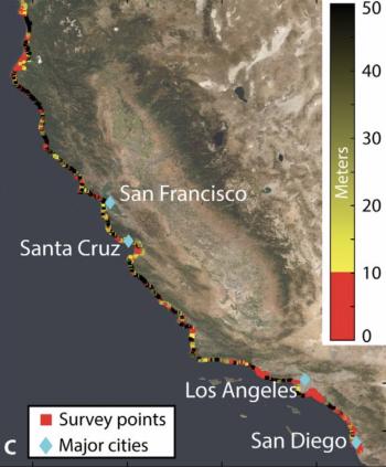 A satellite image of the California coast