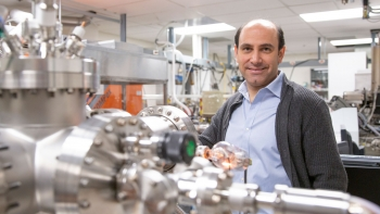 Associate Professor Sefaattin Tongay in his laboratory where he and his collaborators research quantum materials and their applications.