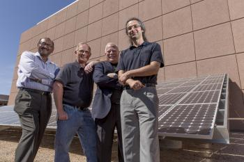 Leaders of SenSIP research center project at ASU Rearch Park solar facility
