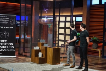 Eric Goodchild and Jake Slatnick demonstrate a Tesla coil on their Shark Tank pitch.