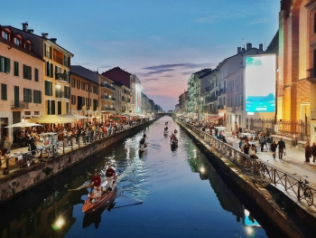 River in Milan, Italy at dusk.