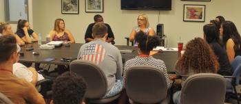 Congresswoman Kyrsten Sinema addressing Political Science and Global Studies freshmen